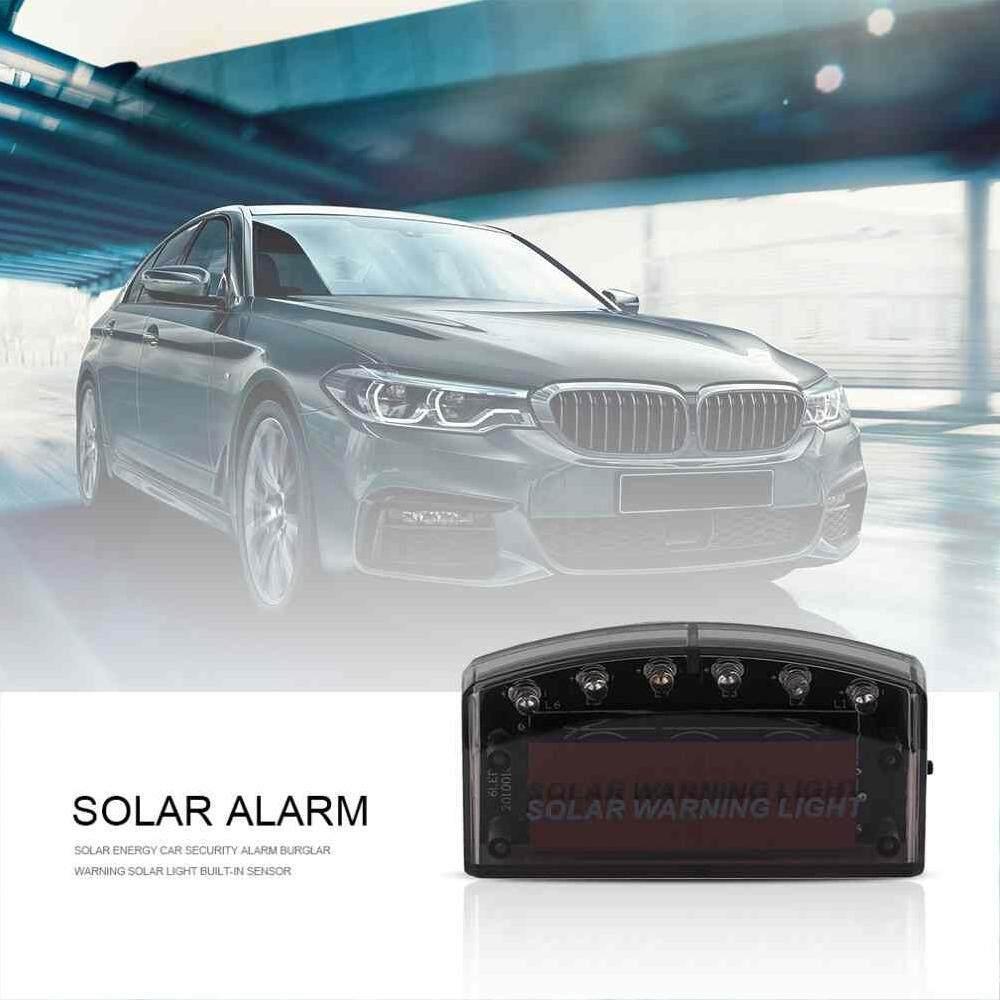 Ytri Energi Surya Mobil Alarm Keamanan Flash Cahaya Biru 6LED Pencuri Peringatan Lampu Surya Built-In Sensor Meningkatkan Lalu Lintas Safet-Intl