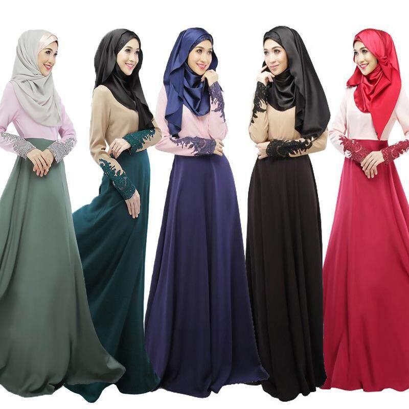 44925372b948f Vigo 5 Colors M/L/XL/2XL Floral Fashion Muslim Dress for Women Spliced  Islamic Turkish Pakistan Singapore Dubai Costume