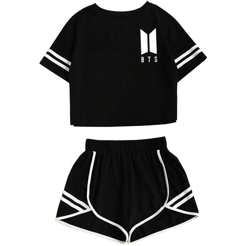 Women Summer Stripe Splicing Tracksuit Bts Clothes Set 2 Piece Sports Suits Shorts Crop Tops + Shorts Pants Outfit By Andrewxdi.