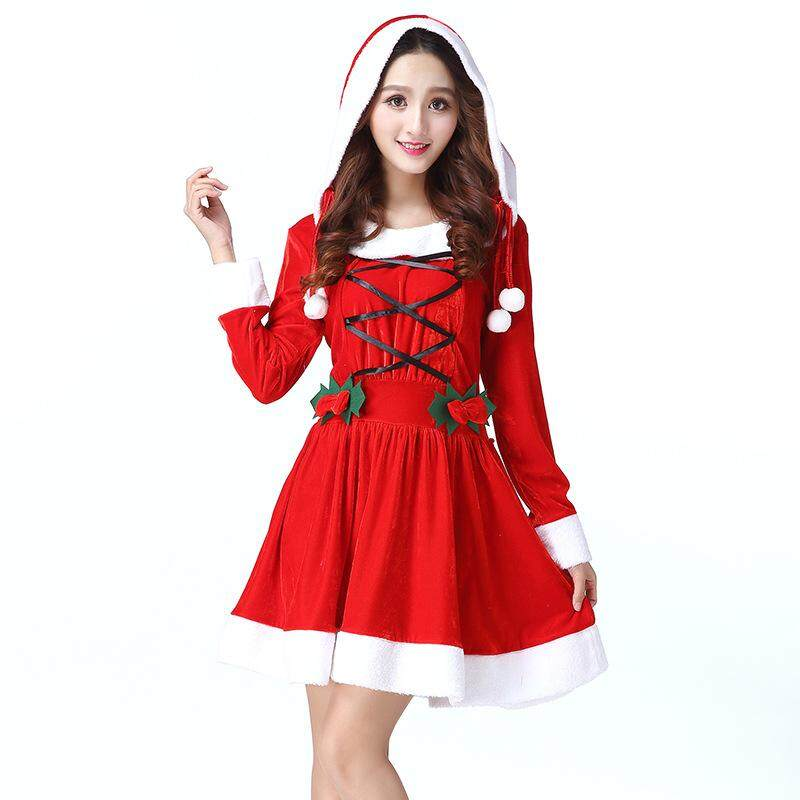 edea8f133234 Women Christmas Costumes Dress Adult Female Santa Claus Cosplay Christmas  Costumes Hooded Dress Performance Clothing