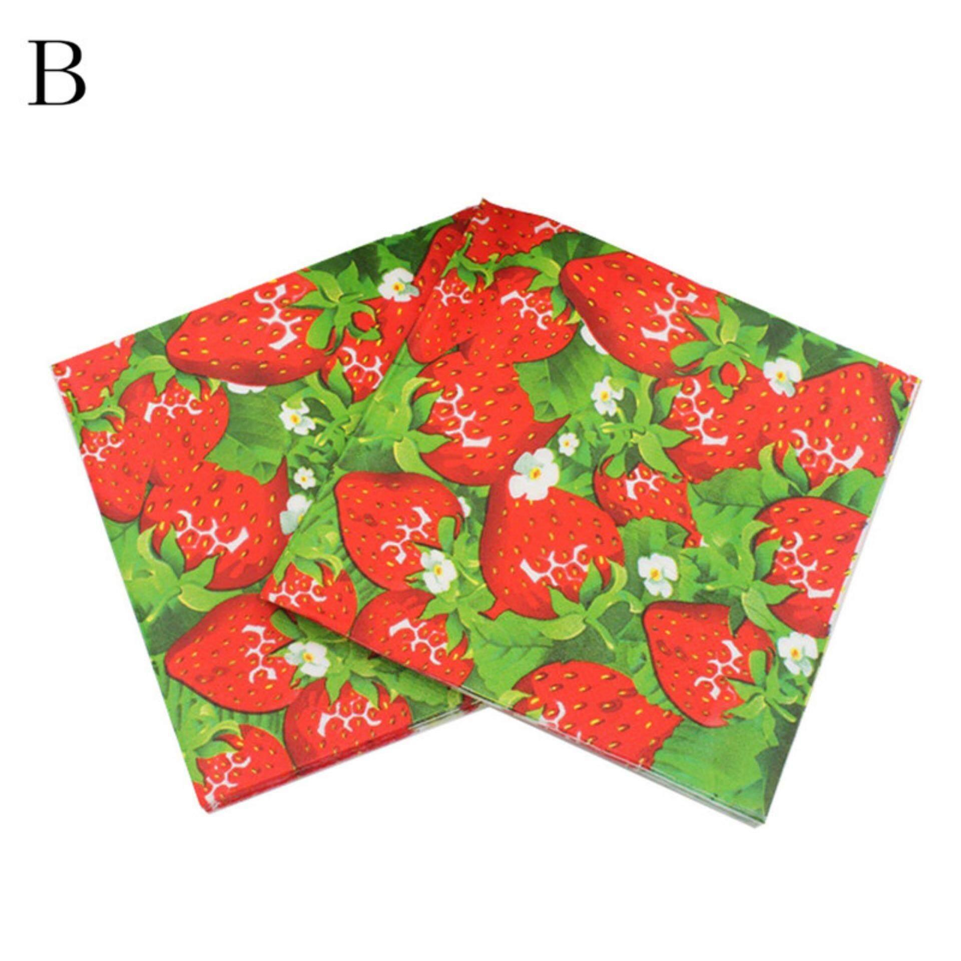 Jual Serbet Kain Lap Kotak 20pcs Fruit Pattern Watermelon Paper Napkins Kids Birthday Party Favors Disposable Napkin Styleb