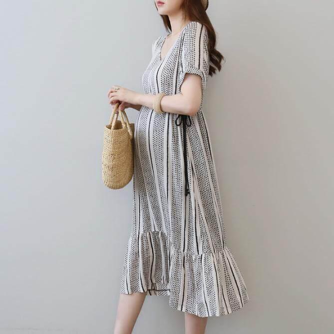 Wanita hamil berpakaian musim panas gaun gaun panjang gaun ibu hamil lengan  pendek dalam pakaian wanita 692e3e43c6