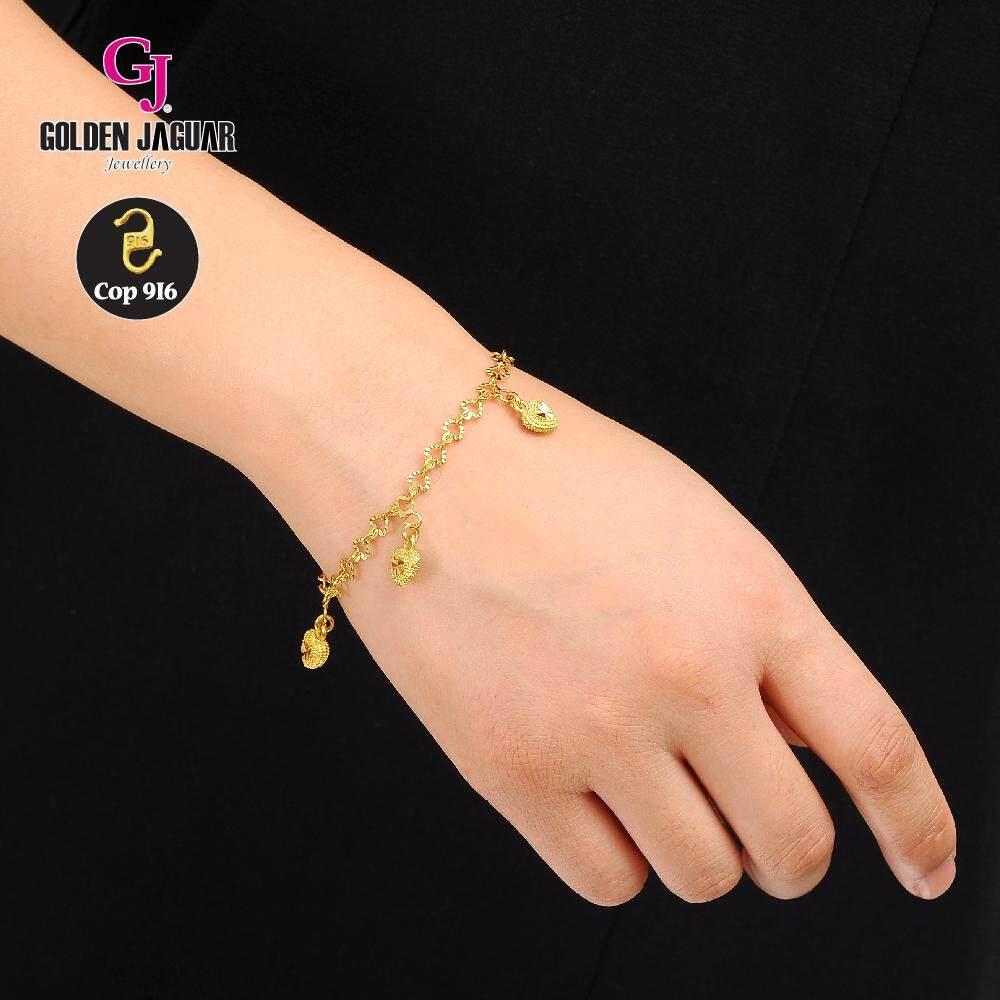 Emas Korea Golden Jaguar Fashion 4.0 Love Nipis Kikir + Love (S) Bracelet