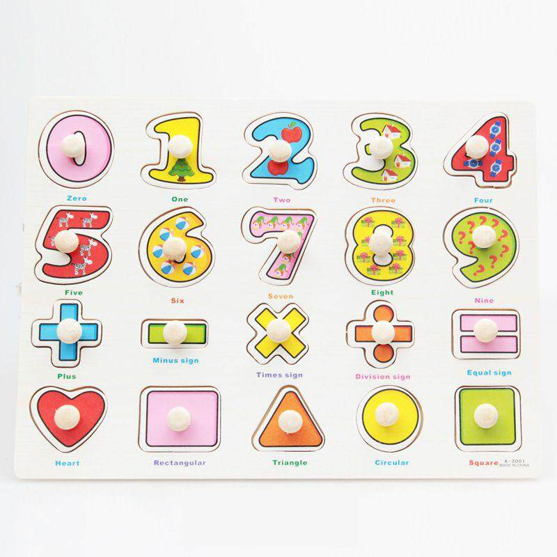 (Number and Shape)Kid Early educational toys baby hand grasp wooden puzzle toy alphabet and digit learning education child wood jigsaw toy