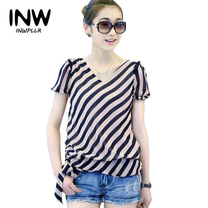 6fa488e5360377 INWPLLR Women Blouses Striped Chiffon Blouse Summer Korean Fashion Short Sleeve  Shirt Women Casual Womens Tops