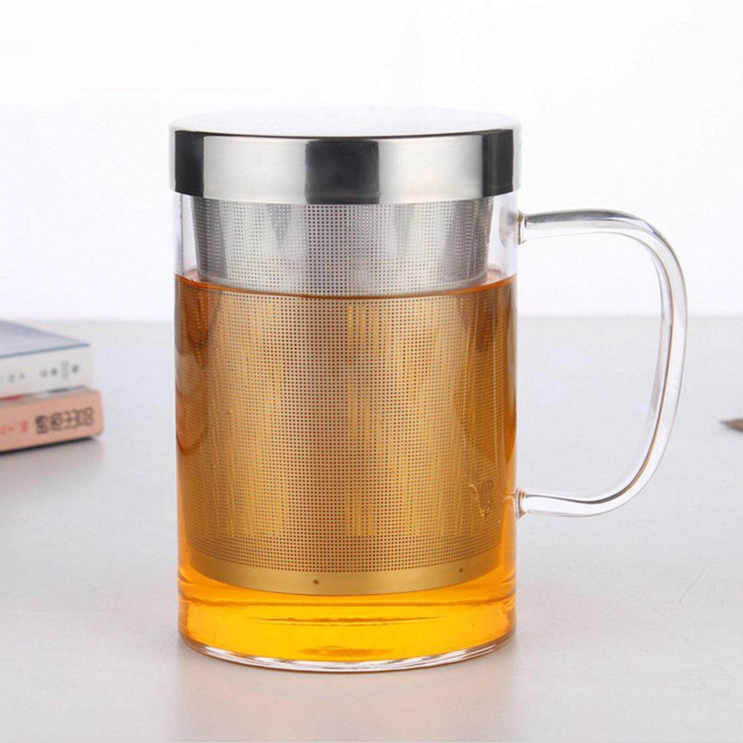 3pcs 17oz Clear Glass High Temperature Resistant Tea Brewing Cup Water Juice Coffee Flower Tea Cups