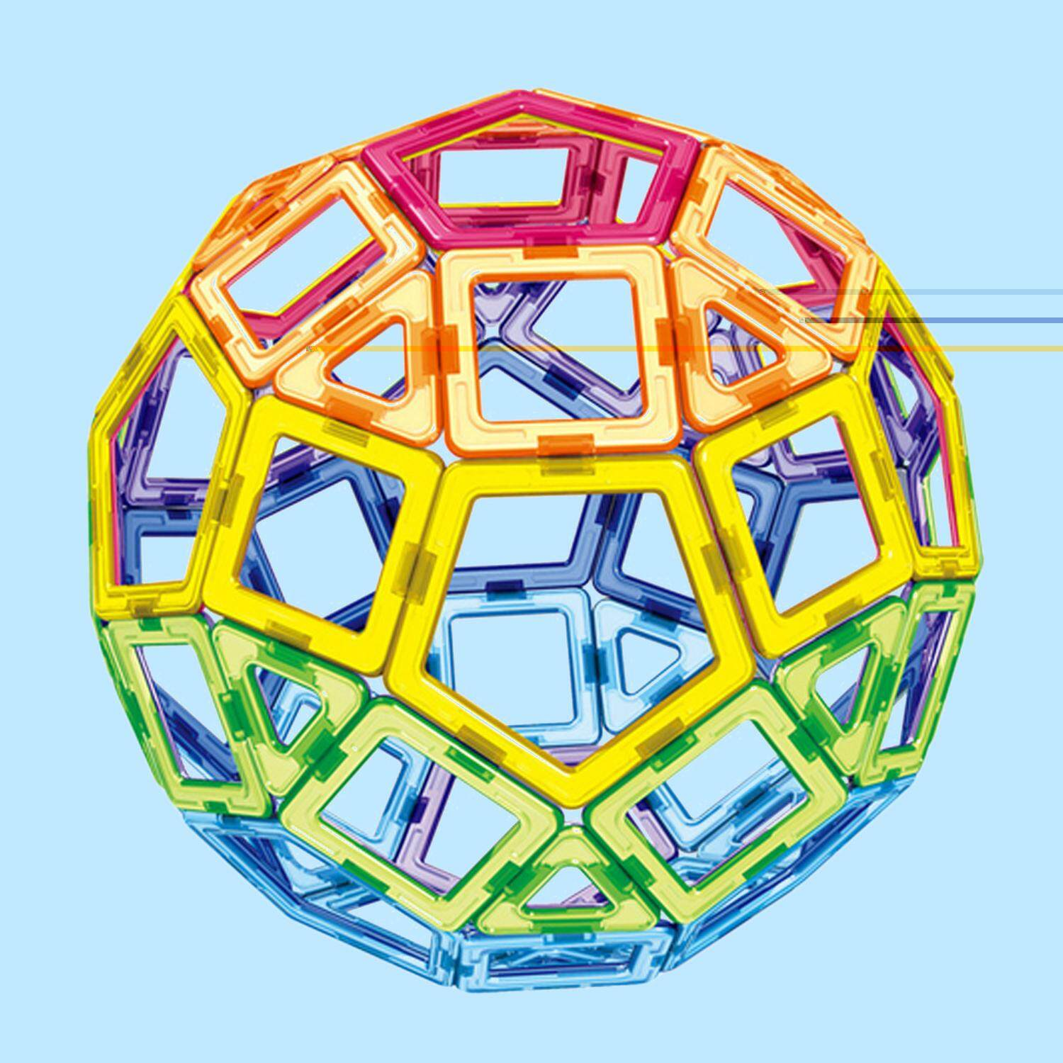 62 Pcs Triangle Square Pentagon Magnetic Building Blocks Parts 3d Educational Toy Birthday Children Day Gift - Intl By Elek.