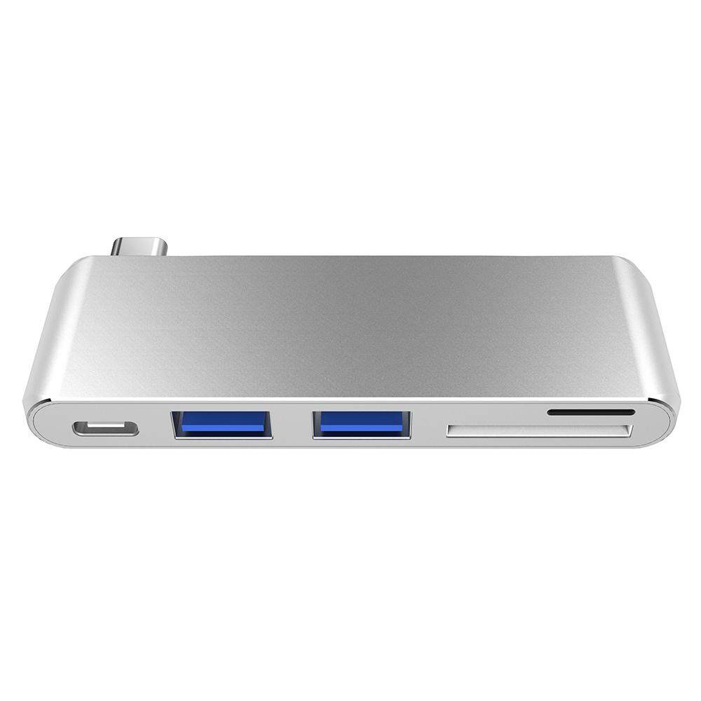5 In 1 USB-C Usb 3.0 Hub Multi USB3.1 Tipe-C Splitter Adaptor TF Pembaca Kartu SD 5 Gbps untuk Macbook windows Chrome OS Perak