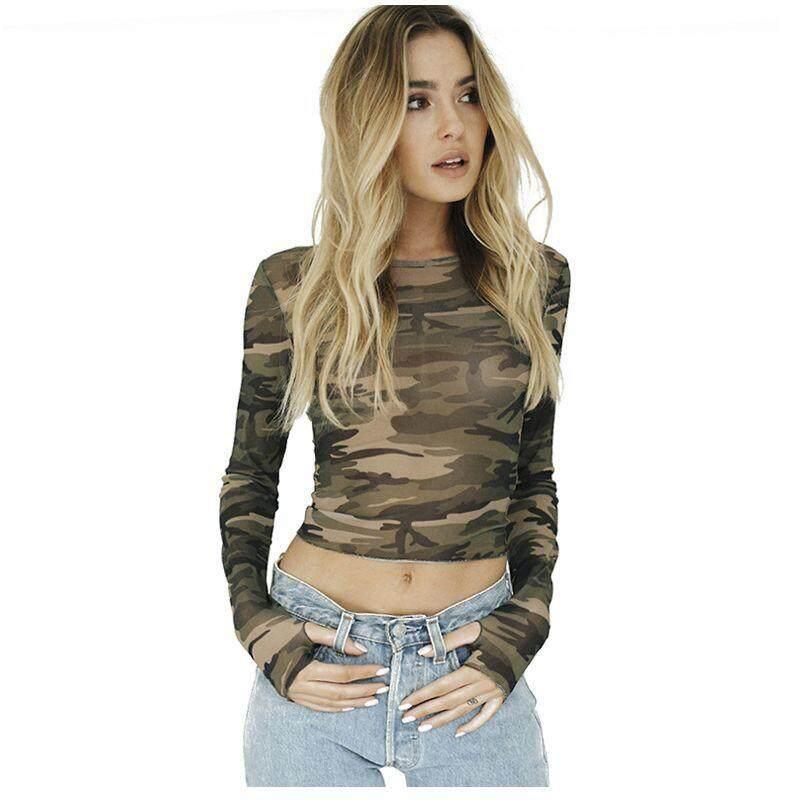 a7140e5c7a11a Women s New Fashion T Shirts Long Sleeve Slim Tee Tops Camouflage Print T-shirts  Tops