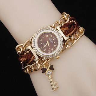 B-F Fashion Women Handmade Braided Bracelet Watch Woven Crystal Quarzt Watches Jewelry(Xanh lam đậm) available thumbnail