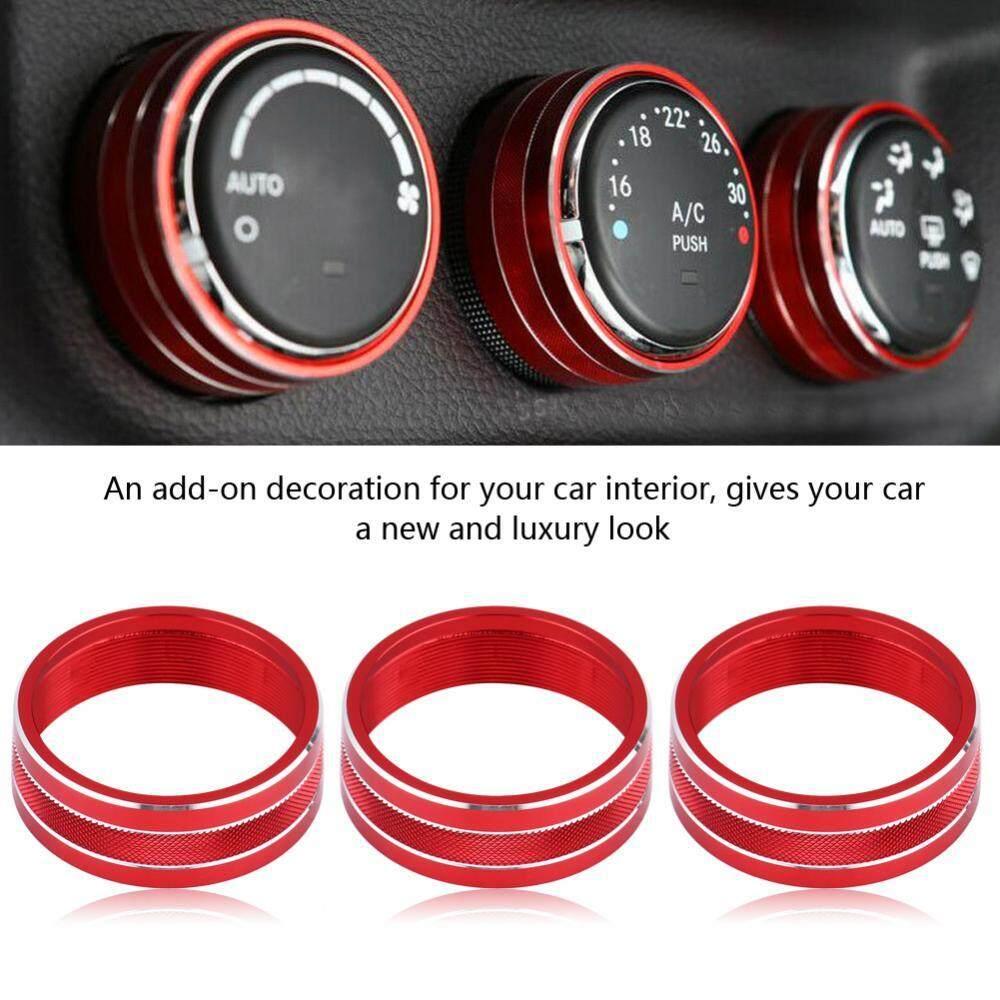 Justgogo 3pcs Car Air Conditioning Button Cover Decorative Switch Trim Red For Jeep Wrangler Jk Jku 11-18 - Intl By Justgogo.
