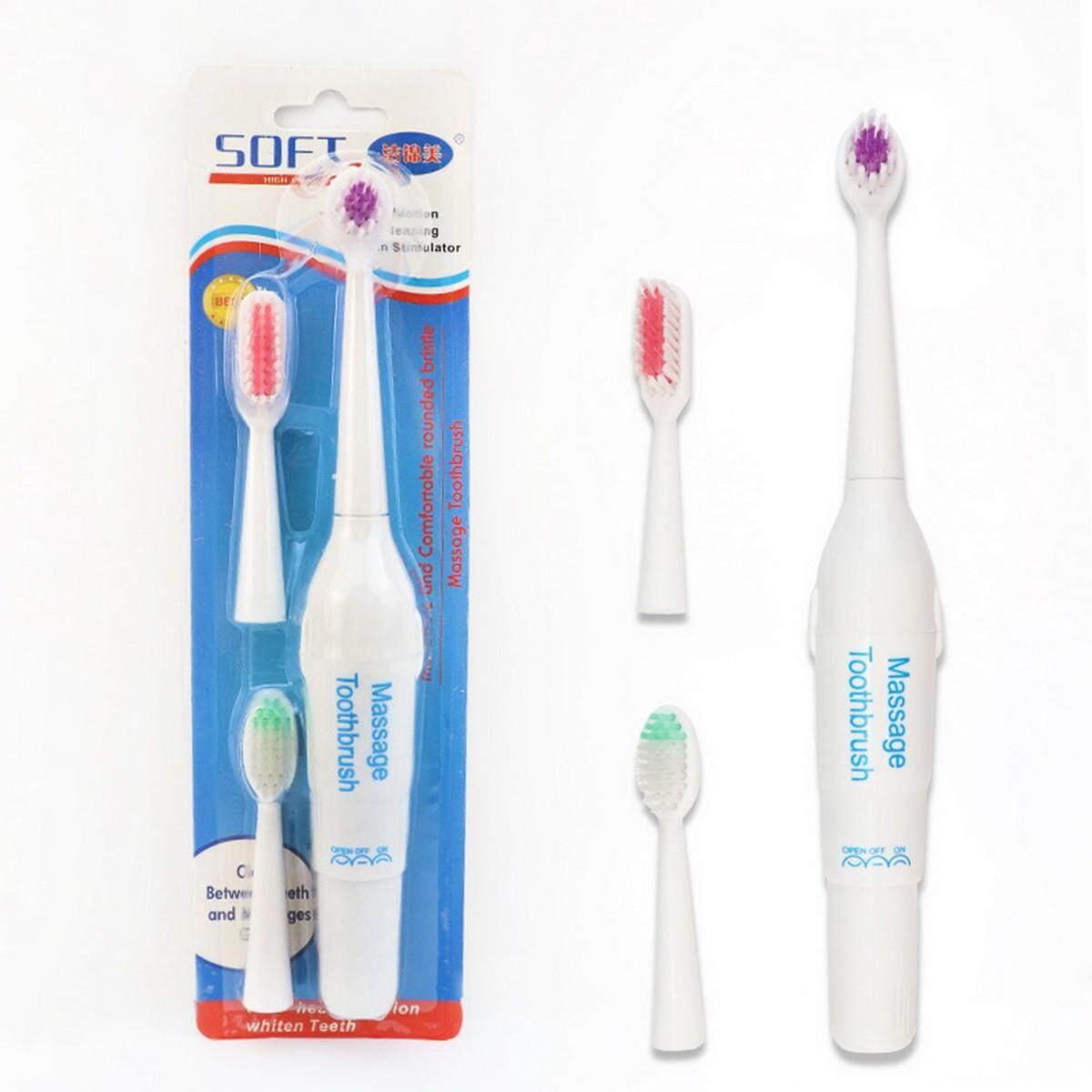 แปรงสีฟันไฟฟ้า ช่วยดูแลสุขภาพช่องปาก นครพนม แปรงสีฟันไฟฟ้ากันน้ำ  แบตเตอรี่ดำเนินการมอเตอร์สั่นแปรงฟัน 3 ชิ้นหัวเปลี่ยน  สุ่มสี  สีสุ่ม