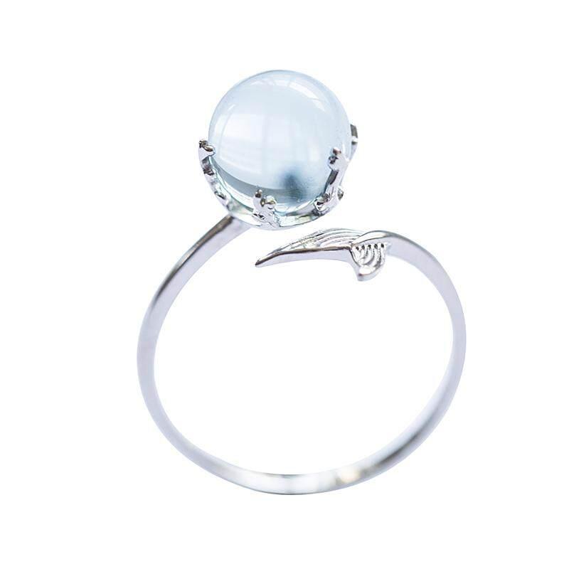 【Cincin busa putri duyung】Kuncup bunga asli putri duyung busa kristal kalung perempuan s925