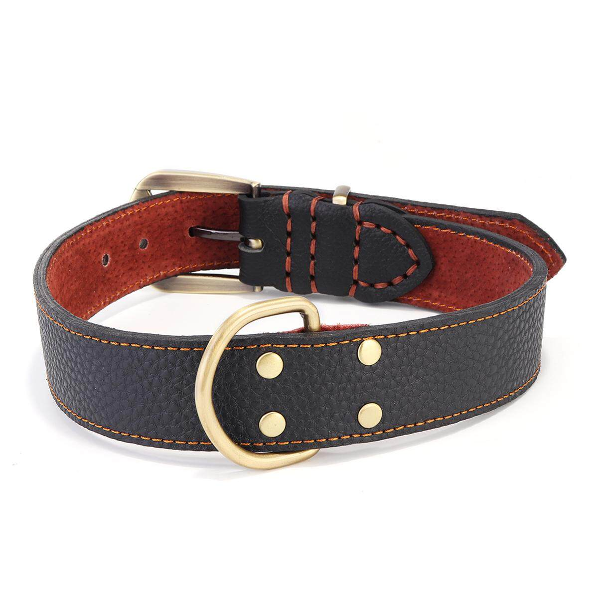 Brown Genuine Leather Dog Collar Real Authentic Tough CowHide Collar Neck Buckle # L