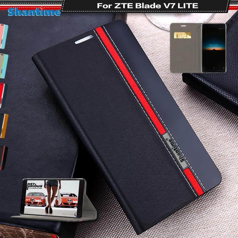 Lipat Telepon Case Anda ZTE Pedang V7 Lite Antik Colour Jahitan Kulit Case Buku Case Anda ZTE Pedang V7 Lite case With Kartu Slot-Internasional
