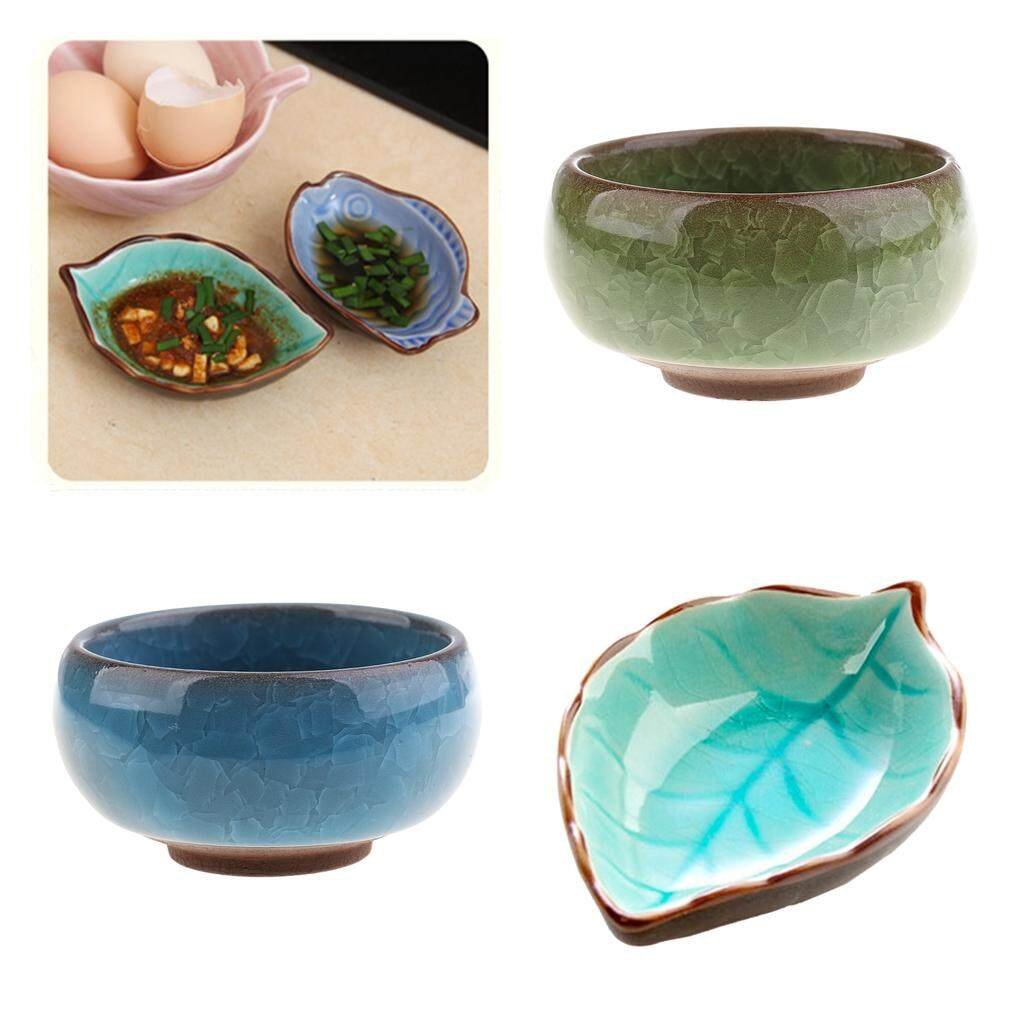 BolehDeals 3cs Ceramic Crack Bowl Sushi Jam Dipping Bowl Sauce Plate Dish Leaf +Round