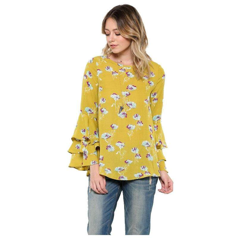 Women's New Casual Flare Long Sleeve Vintage Floral Shirt Ruffle Blouse Fashion Loose O Neck Tops and Shirts(Yellow, M/US-6/UK-10)
