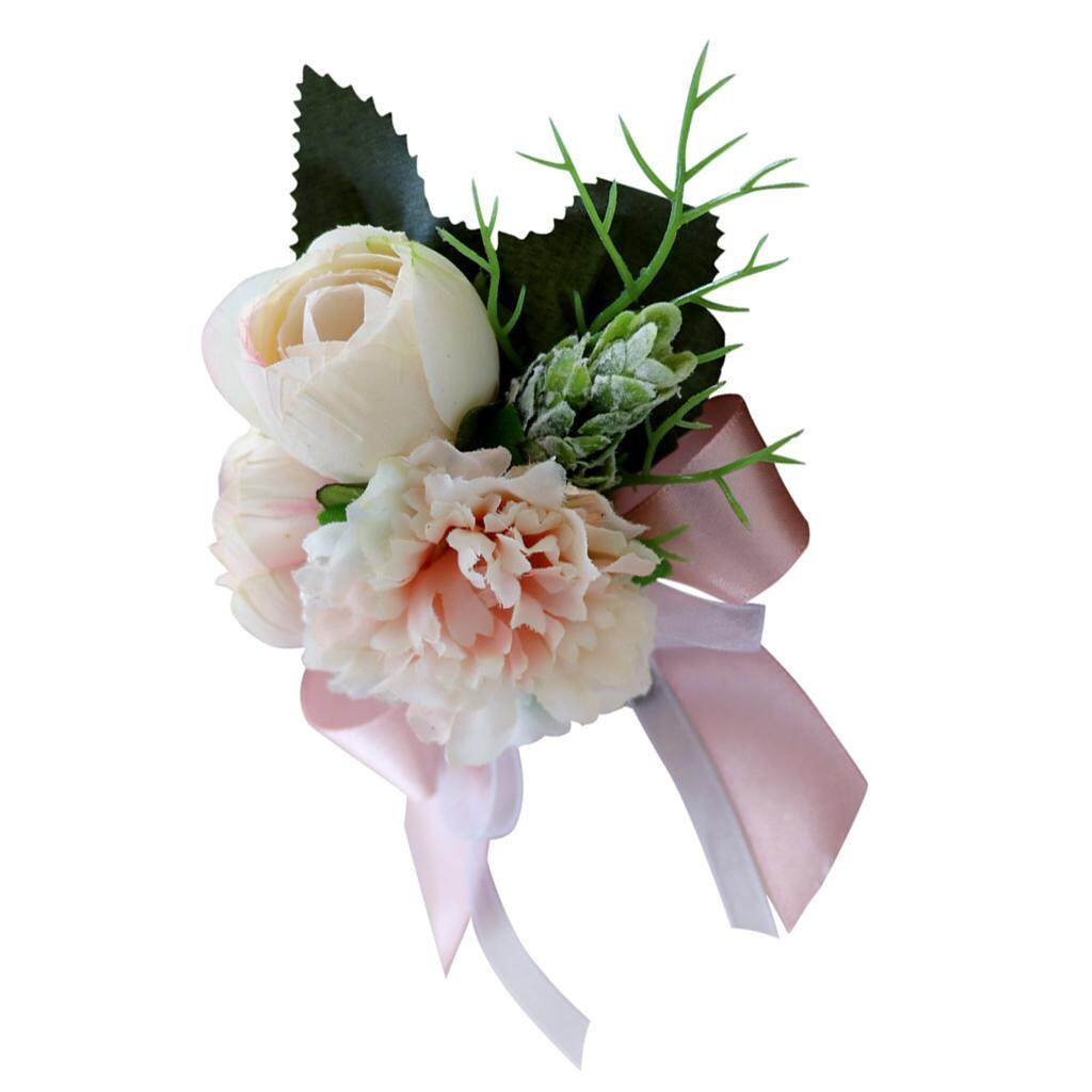 GuangquanStrade Wedding Tea Rose Carnation Silk Flower Boutonniere Corsage Champagne