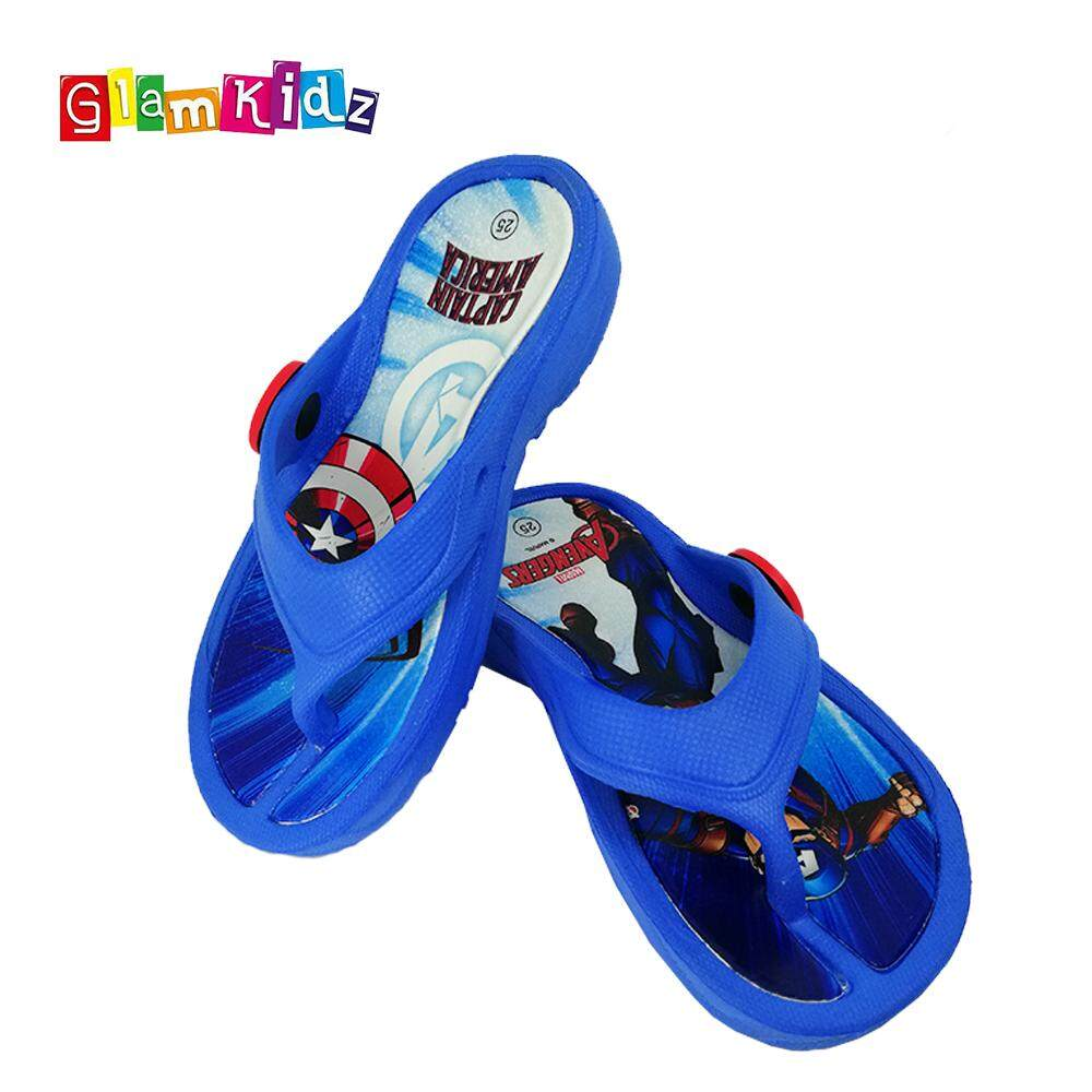 GlamKidz Marvel Avengers Captain America Kids Slipper Children Shoes Sandals Sports Flip Flops #2563