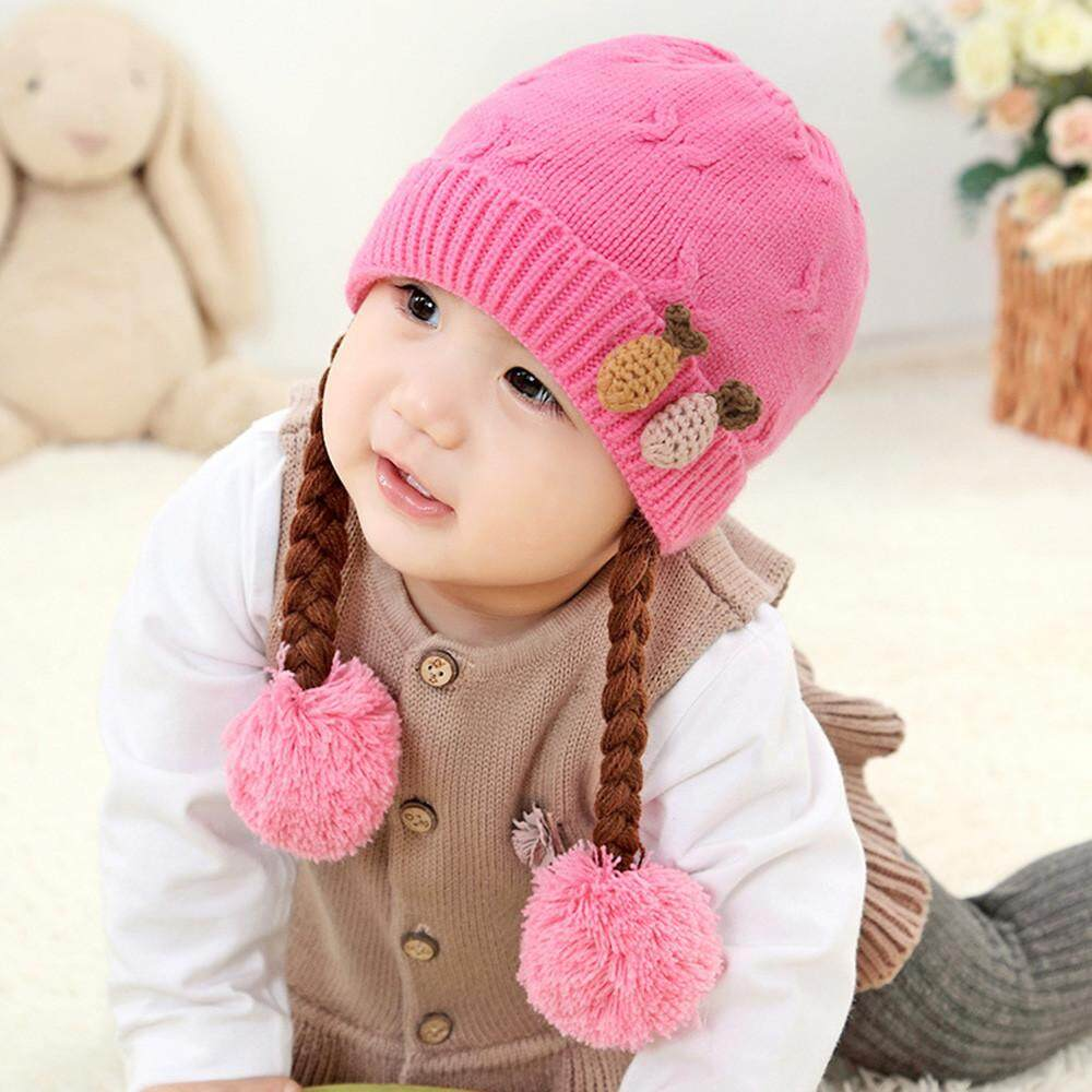 9f716a96536 Tideshop Cute Kids Toddler Girls Baby Winter Braid Crochet Knit Hat Beanie  Hairball Cap