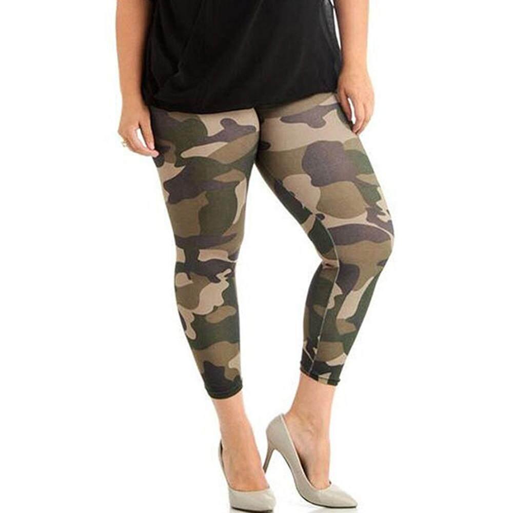 e7518418d0409 GUO Fashion Women Plus Size Elastic Leggings Trousers Camouflage Prints  Sport Pants