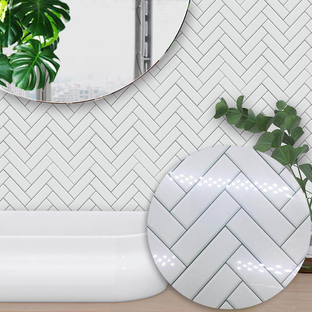 10 Pcs/Set Self Adhesive Tile Stickers Art Decals Removable Wall Sticker Kitchen Backsplash Bathroom Home Tidy Protection