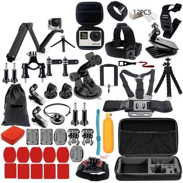 Set Aksesori Kamera Sukan untuk Go PRO Set Aksesori Untuk Go Pro Hero 6 5 4 3 Kit 3 Cara Selfie Stick Tripod untuk Eken h8r/untuk Xiao Mi untuk Xiao Yi 4 K Mijia untuk SJ Cam EVA Case VS77 Kit-Intl