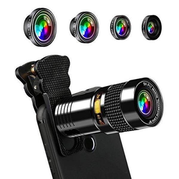 AFAITH 5-in-1 Phone Camera Lens Kit 9X Telephone Lens+180 Degree Fisheye+Super Wide 0.4X+ 0.63X Wide and Macro Lens for iPhone X/8/7/7 Plus/6s/6/5, Samsung Galaxy S8/S7/S7 Edge PA072