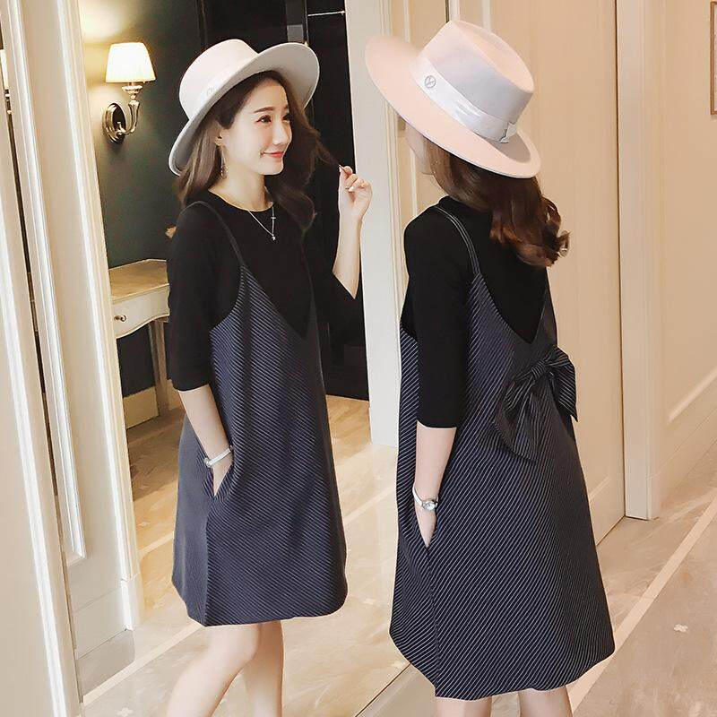 569bcf55e29 Maternity Dress Spring and Autumn Korean Seven Point Sleeves Jacket Bow Tie  Strap Skirt Two Piece
