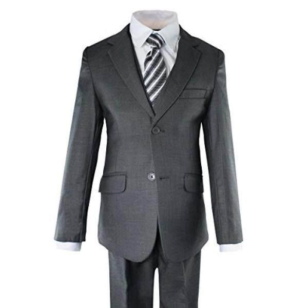 Luca Gabriel Balita Anak Laki-laki 5 Piece Potongan Pas Badan Arang Setelan Gaun Formal Set dengan Dasi dan Rompi--Intl