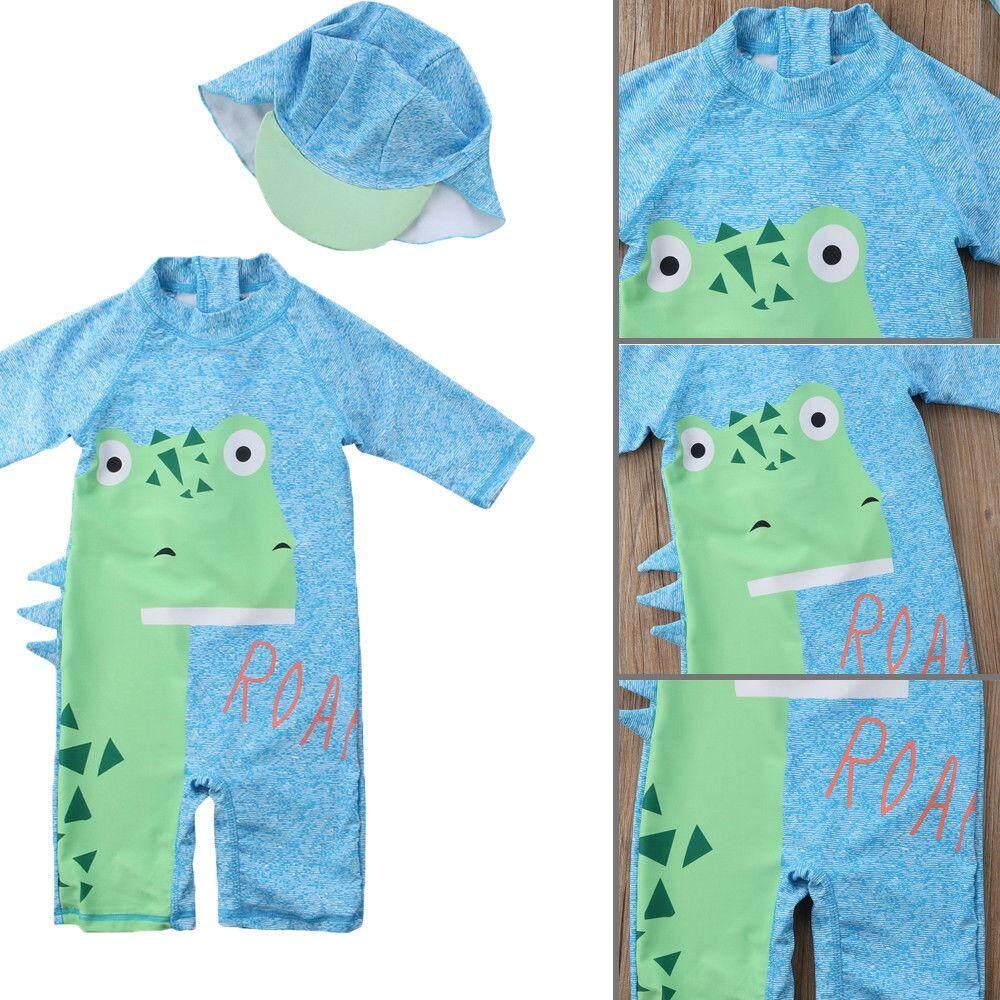 Produk Baru Anak Perempuan Bayi Laki-Laki Anak Dinosaurus Biru Pakaian Surfing Jumpsuit Pakaian Korset Luaran + Topi By Amazingly.