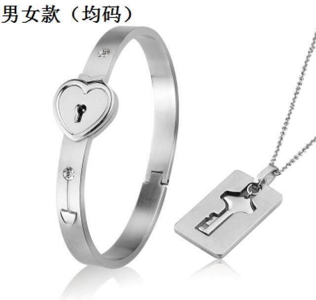 【Kalung Gelang Pasangan Rose Gold A 】Perhiasan baja titanium pria dan wanita yang saling
