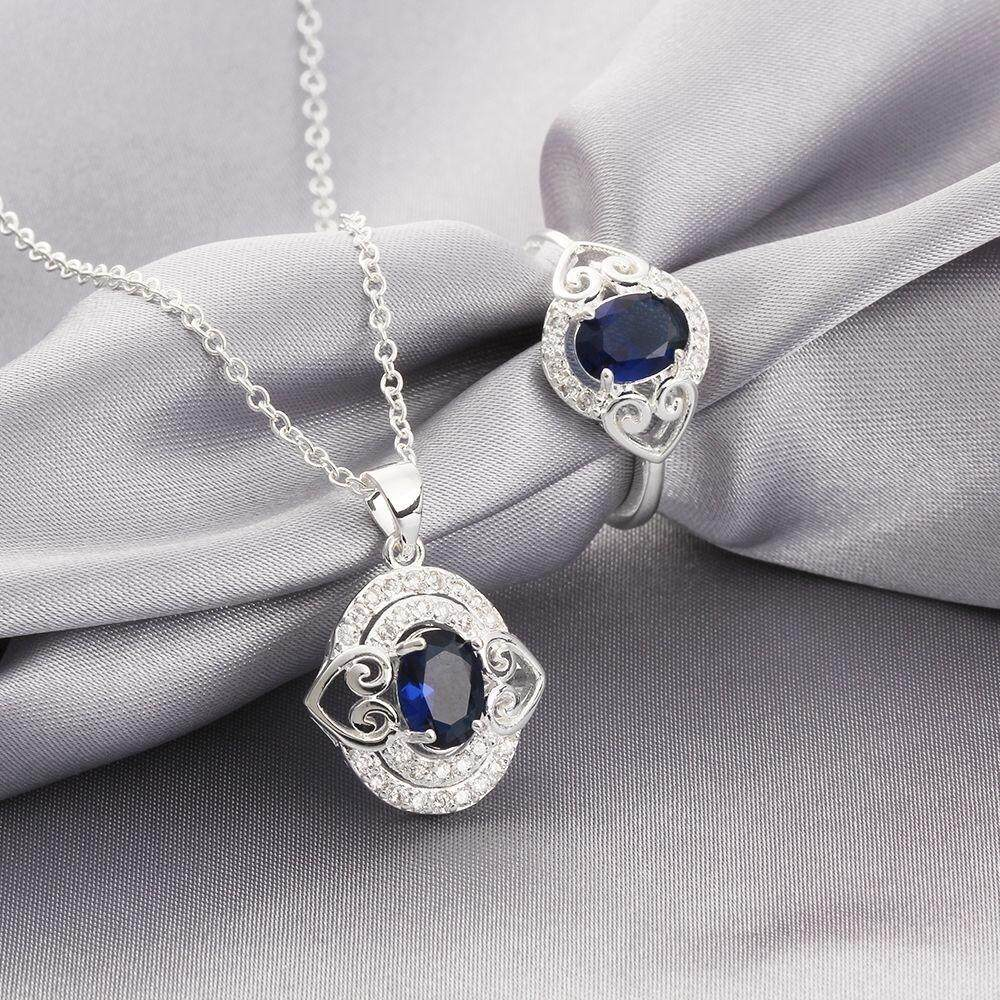 Free Shipping 2015 new style 925 silver plated jewelry sets for sale (Blue)