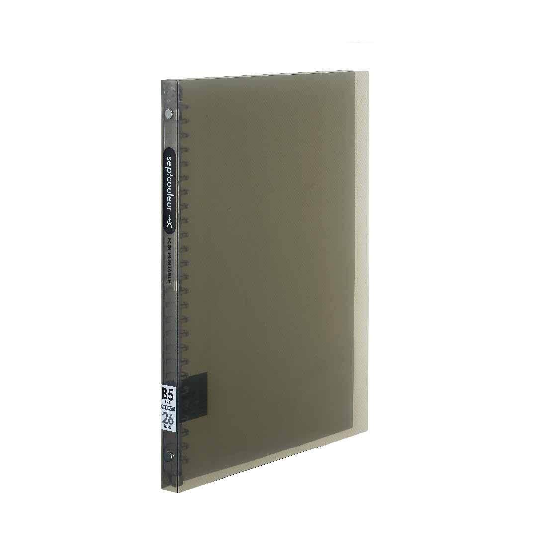 SEPT COULEUR B5, 26 Holes, 60 Sheets, 15 Spine Width - Grey
