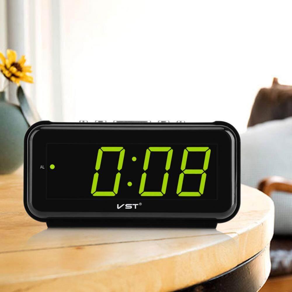 big sale & ready stock 220V Electronic Table Digital Alarm Clock Desktop LED Display Snooze Function Green US Plug