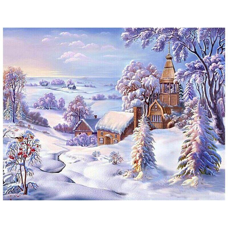 Mua Diamond Painting Cross Stitch Diamond Embroidery Scenic Winter Scenery Pattern Christmas - intl