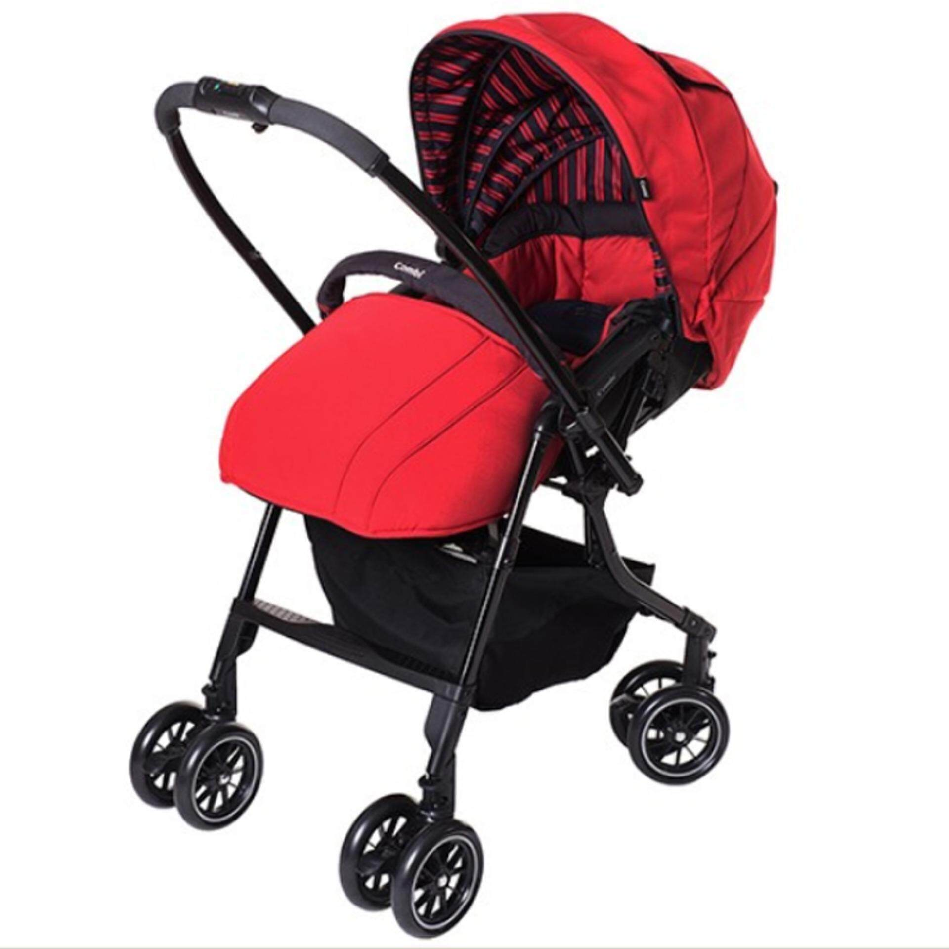 Combi Baby Stroller High Seat 55cm Auto 4 Swivel Wheels Super Light Weight Red