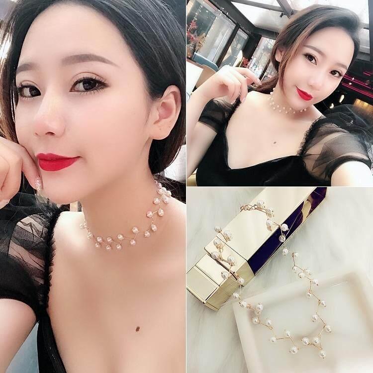 【Bambu emas putih mutiara】Bersih merah kalung choker perempuan kerah rantai klavikula Korea versi kecil mahasiswa segar leher pendek perhiasan tali leher sederhana