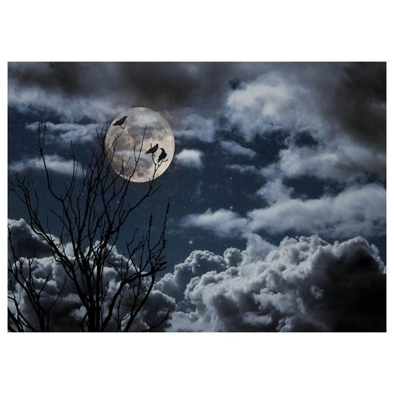 Vinyl Photography Background Photo Backdrops Magic Theme Photography Studio background Horror night branches, crows, moon for Halloween 2.1*1.5M(7*5ft)