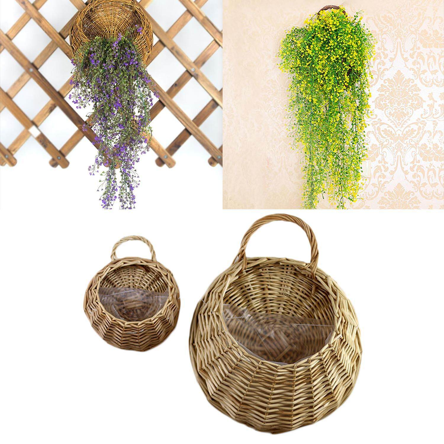 2pcs Wall Hanging Wicker Rattan Flower Basket Plant Pots Vase Container Home Wedding Restaurant Office Decoration Khaki