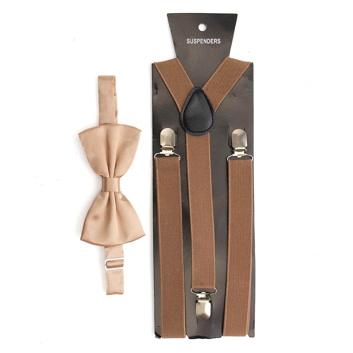 15640a009b81 Mens Clip-on Suspenders Elastic Adjustable Y-Back Braces With Bow Tie Suit  Set