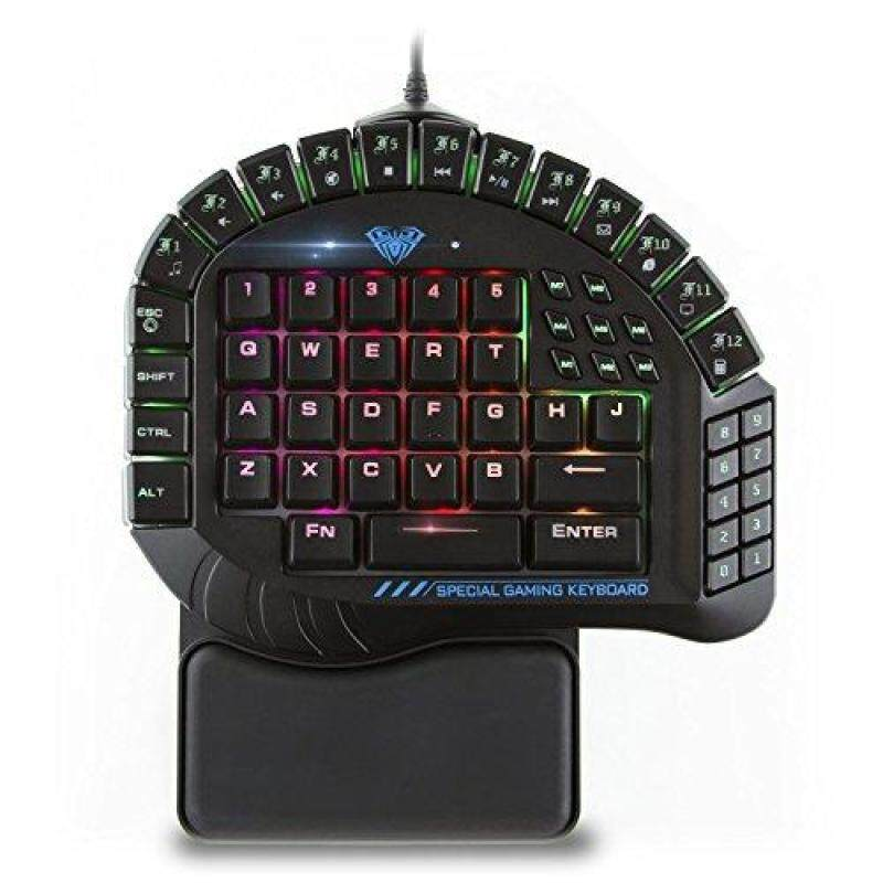 AULA One Handed Gaming Keyboard, RGB LED Backlist Mechanical Keyboard with Removable Hand Rest for PC Gamer & Typing Singapore