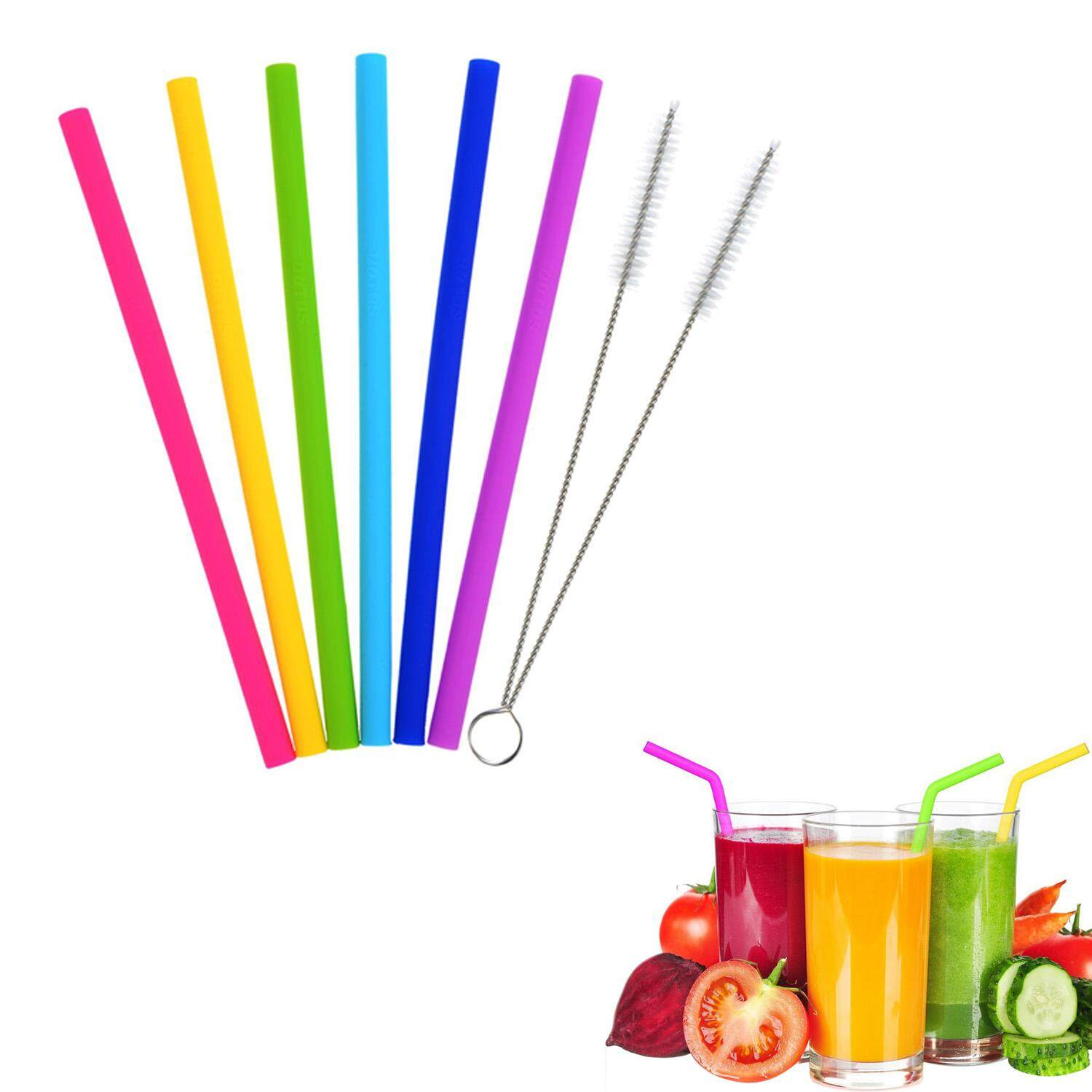 Assorted Colors Reusable Silicone Drinking Straws With Cleaning Brushes For Home Coffee Cold Drink Shop 10 Inch Length - Intl By Vococal Shop.
