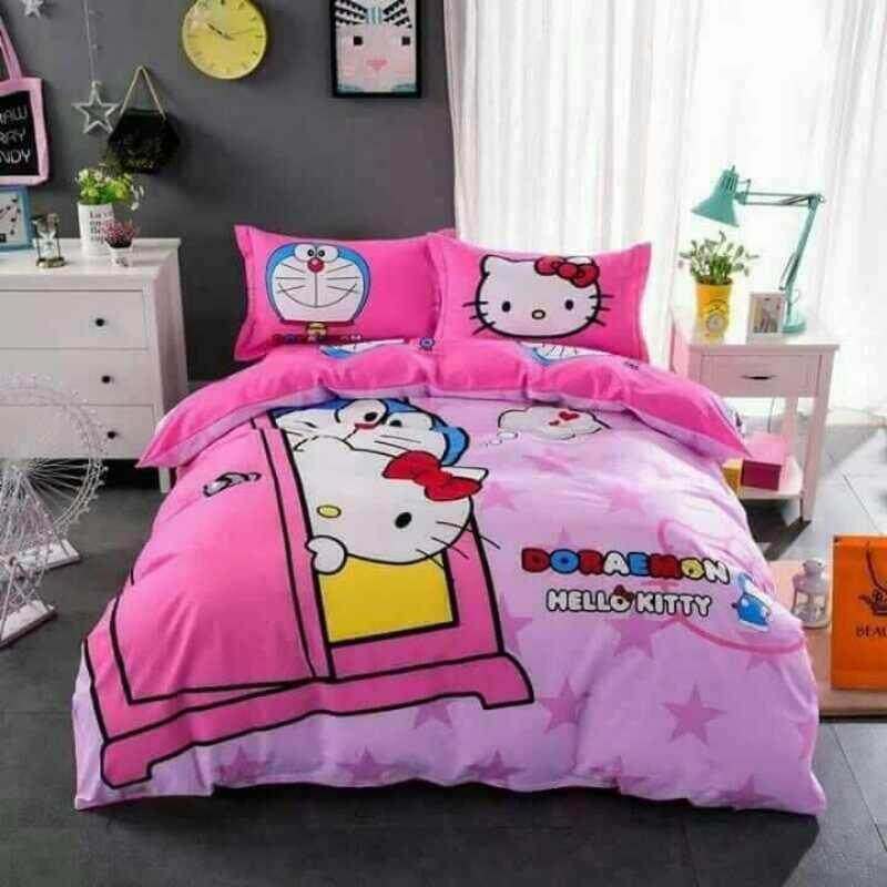 (Queen Size)5 in 1 Bed Sheet set Doraemon Love Hello Kitty Cute Cartoon Design Fitted Bed Sheets ( Fitted Sheet: 60cm x 80cm x 16cm )