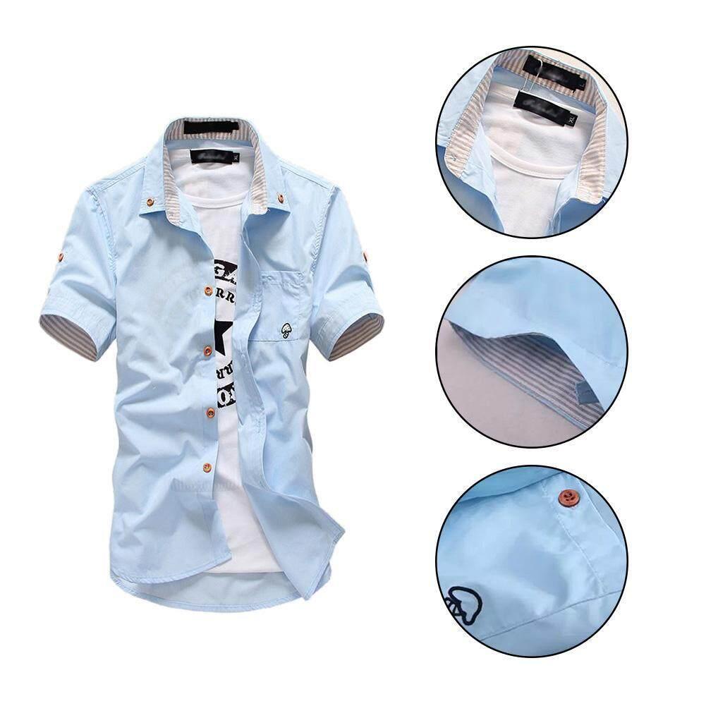 Detail Gambar Simple Mushroom Embroidered Men Casual Short Sleeve Pocket Shirt Top - intl Terbaru