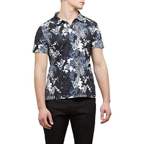Kenneth Cole New York Short-Sleeve Printed Johnny Polo Shirt - Mens - Indigo - intl