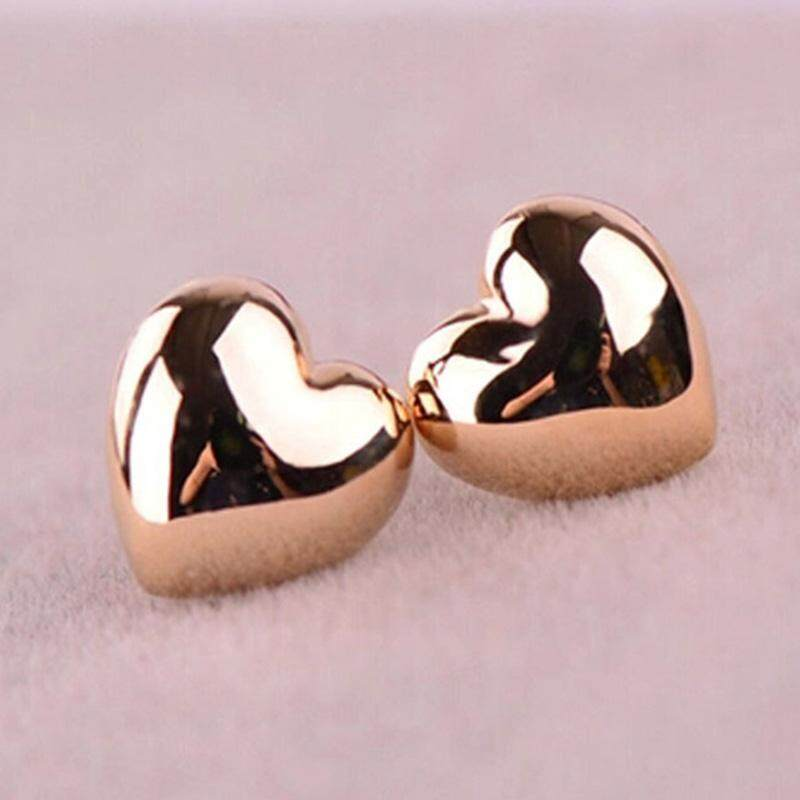 Little Heart Earrings Heart Shaped Earings Studs Earrings for Girl Present Rose Golden - intl