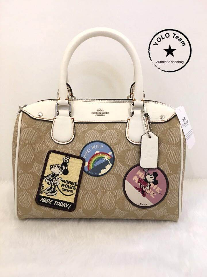 6eaf2cc772 MINI BENNETT SATCHEL IN SIGNATURE CANVAS WITH MINNIE MOUSE PATCHES (COACH  F29357)