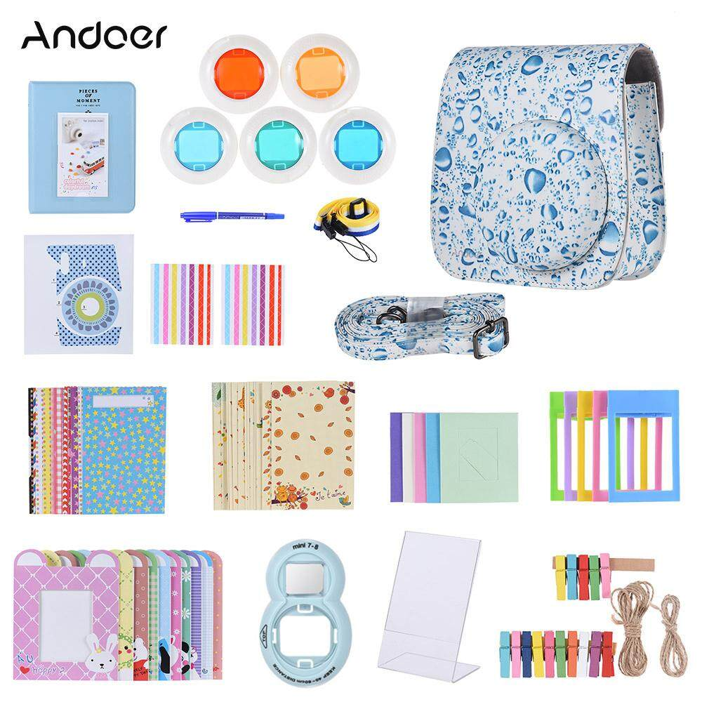 Andoer 14 in 1 Accessories Bundle for Fujifilm Instax Mini 8/8+/8s/9 with Camera Case/Strap/Sticker/Selfie Lens/Filter/Album/Photo Frame/Border Sticker/Corner Sticker/Pen