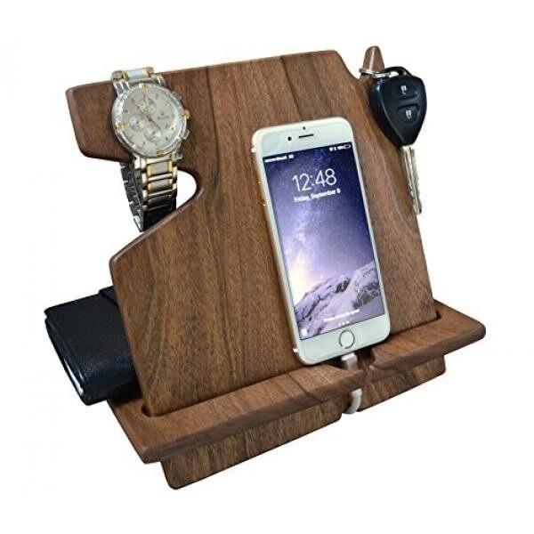 Wood Phone Docking Station Dark Walnut with Key Holder, Wallet Stand and Watch Organizer Mens Gift Iphone Android iPhone (X, 8, 8 plus, 7, 7 plus, 6s plus, 6s, 6 plus, 6, 5, 5s) Samsung Galaxy etc.